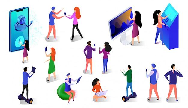 Insieme isometrico di persone e gadget su sfondo bianco