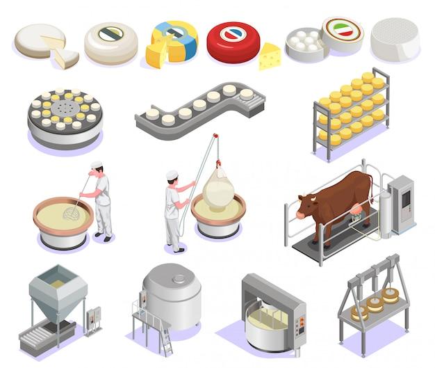 Insieme isometrico di produzione di formaggio con attrezzature di fabbrica e vasto assortimento di prodotti finiti isolato