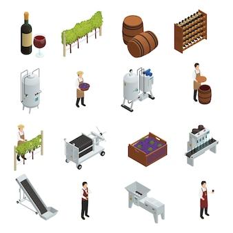 Insieme isometrico di produzione vinicola