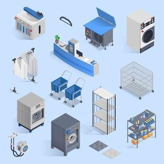 Insieme isometrico di servizio di lavanderia e di lavaggio a secco