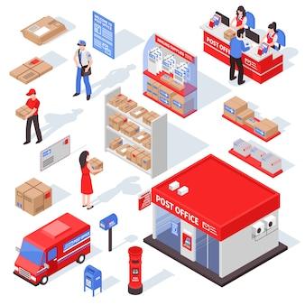 Insieme isometrico di servizio postale