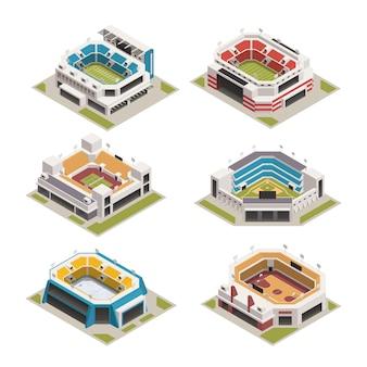 Insieme isometrico di stadion sport arena