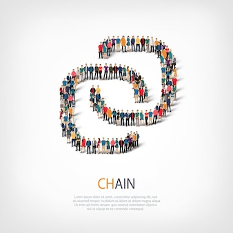 Insieme isometrico di stili, catena, illustrazione di concetto di infographics di web di una piazza affollata. gruppo di punti folla che forma una forma predeterminata. persone creative.