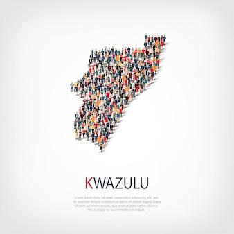 Insieme isometrico di stili, persone, mappa di kwazulu, paese, concetto di infografica web di spazio affollato. gruppo di punti folla che forma una forma predeterminata. persone creative.