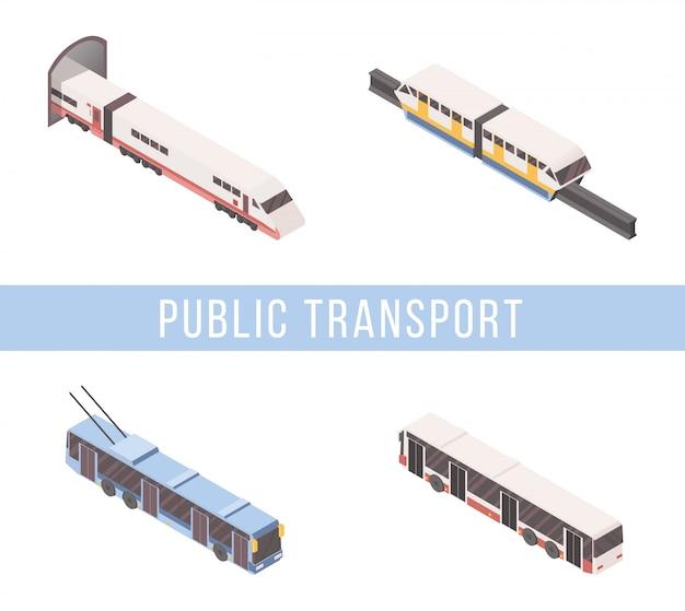 Insieme isometrico di trasporto pubblico
