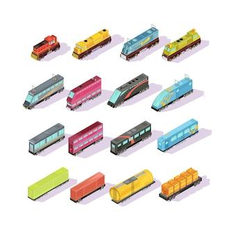 Insieme isometrico di treni di vagoni merci locomotiva colorata isolata e divano passeggeri