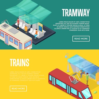 Insieme isometrico di web dell'insegna 3d della stazione di attesa della linea tranviaria