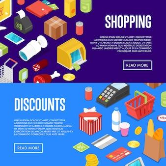 Insieme isometrico di web dell'insegna di acquisto del supermercato