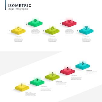 Insieme isometrico infographic, diagrammi, grafici, diagrammi. 1, 2, 3, 4 passaggi, presentazioni, ciclo dell'idea