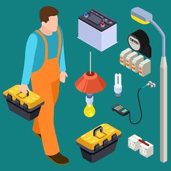 Insieme isometrico maestro elettricista e strumenti