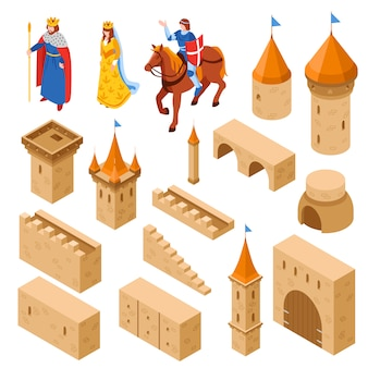 Insieme isometrico medievale del castello reale