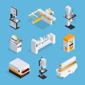 Insieme isometrico moderno di macchinari per la lavorazione del legno