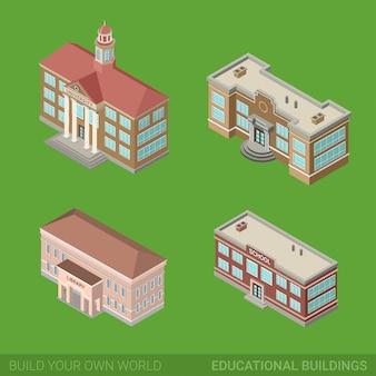 Insieme isometrico piano degli edifici educativi storici di architettura biblioteca pubblica governo della scuola universitaria.