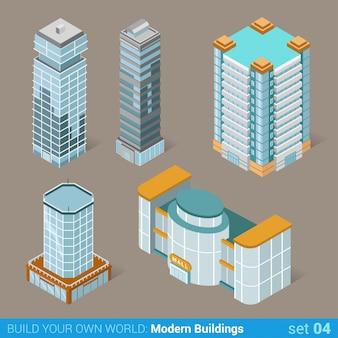 Insieme isometrico piano degli edifici moderni di architettura governo pubblico del centro commerciale e grattacieli.