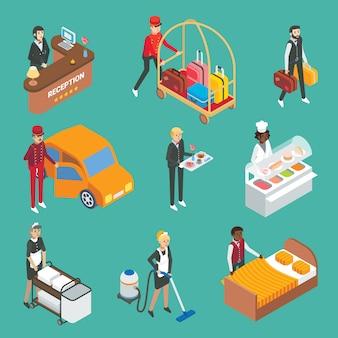 Insieme isometrico piano dell'icona dei lavoratori di servizio dell'hotel