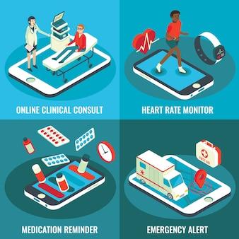 Insieme isometrico piano dell'insegna di servizi medici online