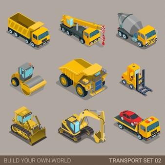 Insieme isometrico piano di trasporto di costruzione