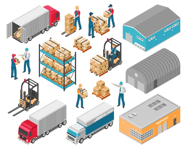 Insieme logistico dell'icona del magazzino isometrico
