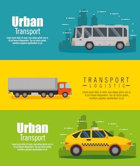 Insieme logistico di trasporto veicoli banner set