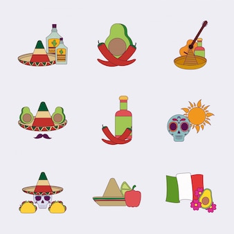 Insieme messicano variopinto isolato dell'icona