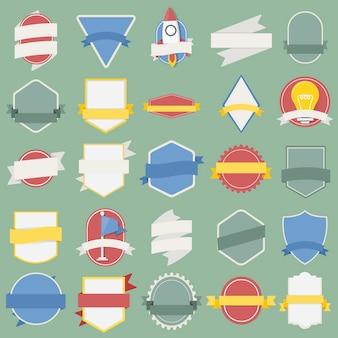 Insieme mistico dell'illustrazione dell'icona dell'etichetta dell'emblema dei distintivi della bandiera della nave spaziale della lampadina