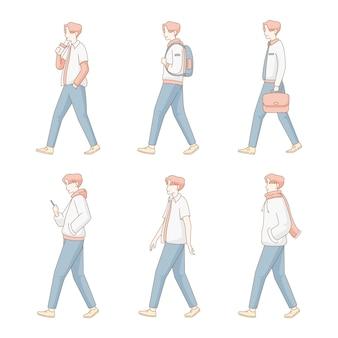 Insieme moderno dell'illustrazione dell'uomo ambulante piano