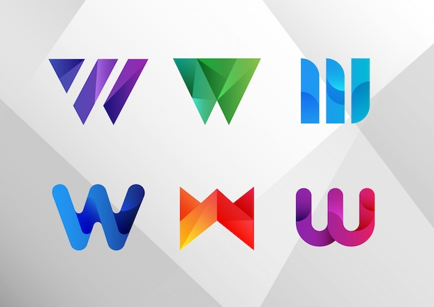 Insieme moderno moderno di logo di pendenza w.