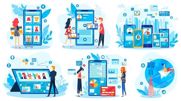 Insieme online dell'illustrazione di comunicazione di media sociali, personaggio dei cartoni animati facendo uso dell'app mobile del gadget, tecnologia della rete internet
