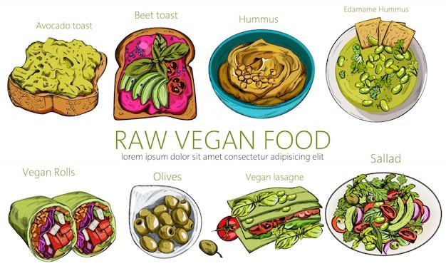 Insieme organico di cibo vegan crudo. hummus, pane tostato e avocado, involtini, olive, lasagne, insalata