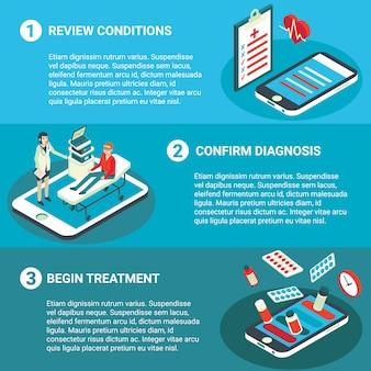 Insieme orizzontale isometrico piano dell'insegna di consultazione medica online
