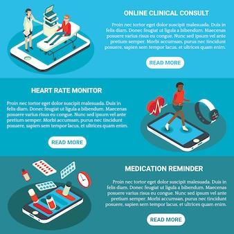Insieme orizzontale isometrico piano dell'insegna di servizi medici online