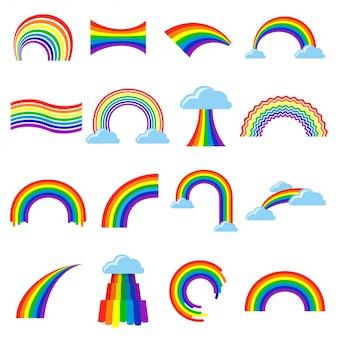 Insieme piano del fumetto dell'icona dell'arcobaleno