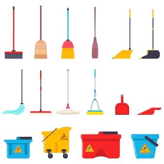 Insieme piano del fumetto della scopa, di zazzera, di paletta per la spazzatura e del secchio di rifornimenti della casa di pulizia isolati su un fondo bianco.
