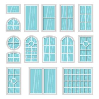 Insieme piano del fumetto di windows 3d isolato.