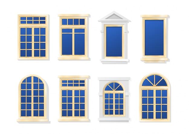 Insieme piano del fumetto di windows isolato