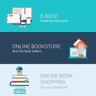 Insieme piano dell'illustrazione delle icone di concetto di acquisto della libreria online del lettore del libro elettronico della biblioteca dei libri online.