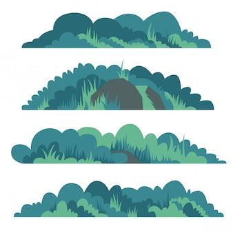 Insieme piano dell'illustrazione di vettore del cespuglio