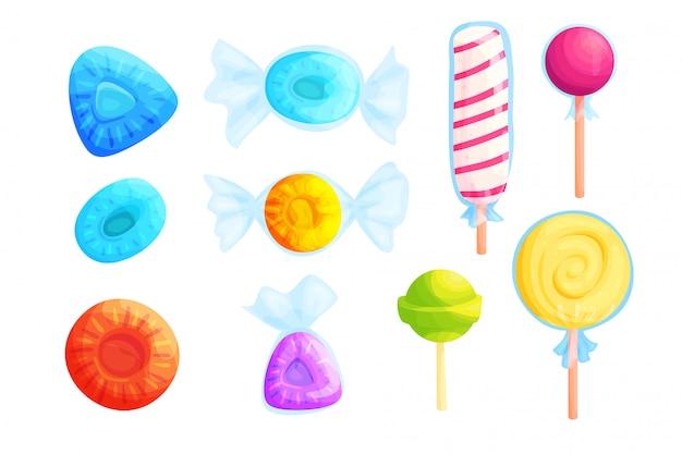 Insieme piano dell'illustrazione di vettore delle caramelle variopinte dolci