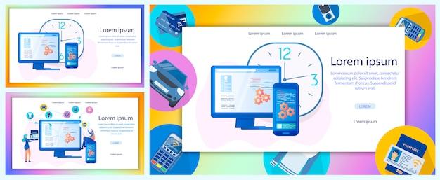 Insieme piano dell'insegna di web di vettore di servizio online di affari