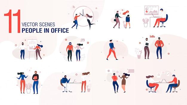 Insieme piano di vettore del carattere moderno della gente dell'ufficio