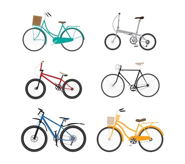 Insieme piano di vettore di progettazione della bicicletta isolato su bianco