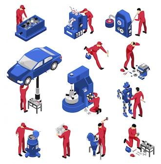 Insieme professionale del meccanico isometrico dell'attrezzatura speciale isolata dei dispositivi del macchinario per la riparazione dell'automobile con i lavoratori