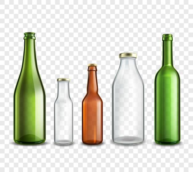 Insieme realistico 3d delle bottiglie di vetro