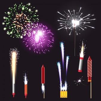 Insieme realistico dei fuochi d'artificio con la pirotecnica e l'illustrazione di vettore isolata divertimento