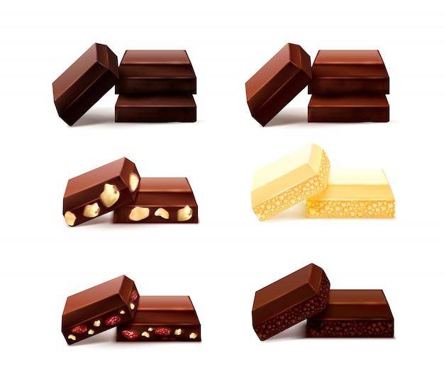 Insieme realistico dei pezzi del cioccolato con le immagini isolate dei pezzi del cioccolato di gusto differente su fondo in bianco