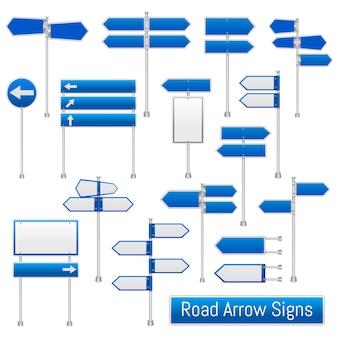 Insieme realistico dei segni della freccia della strada