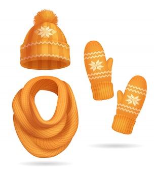 Insieme realistico dei vestiti tricottati giallo di inverno con il cappello e la sciarpa isolati
