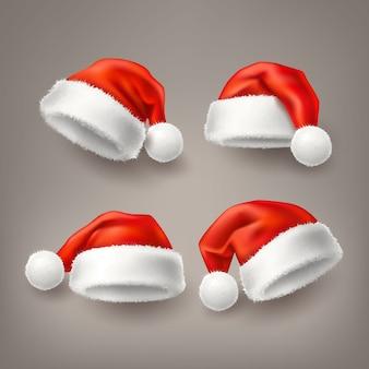 Insieme realistico del cappello di festa di natale di santa