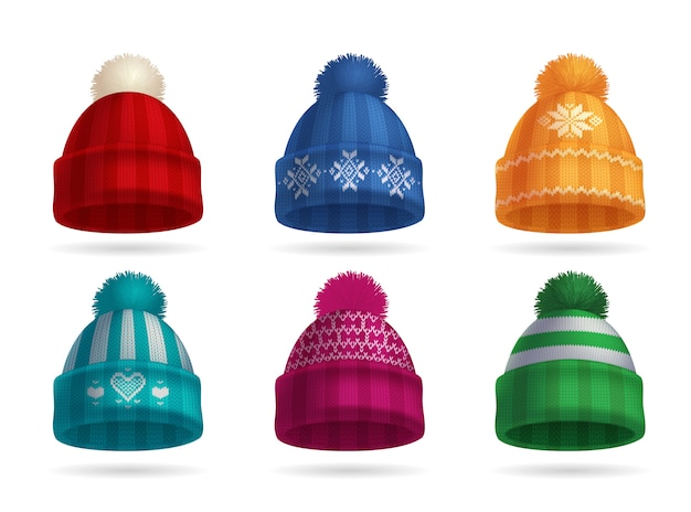 Insieme realistico del cappello tricottato inverno con il cappello e guanti isolati