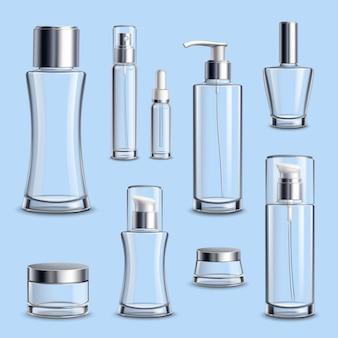 Insieme realistico del pacchetto di vetro dei cosmetici